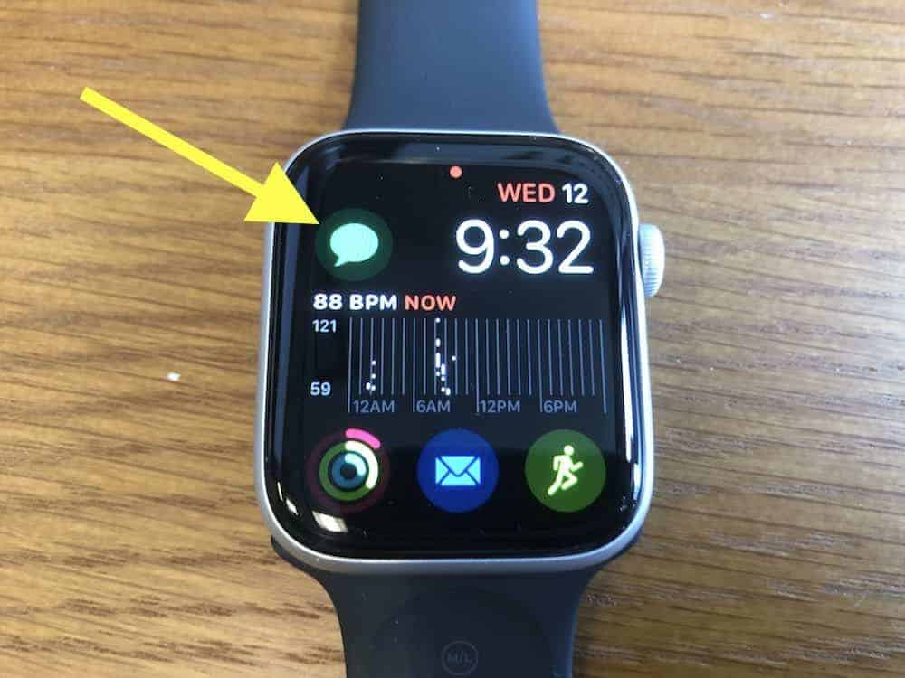 Access text messaging directly from the home screen on Apple Watch 5 (or the app cloud screen)