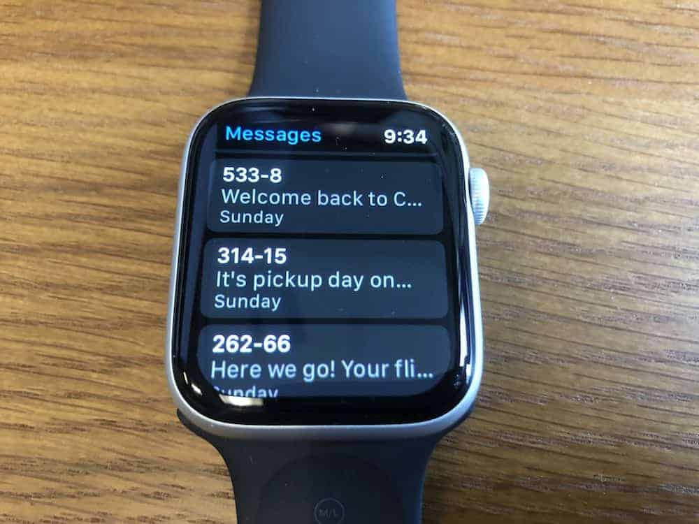 Here's how the text messages present in the Apple Watch Series 5