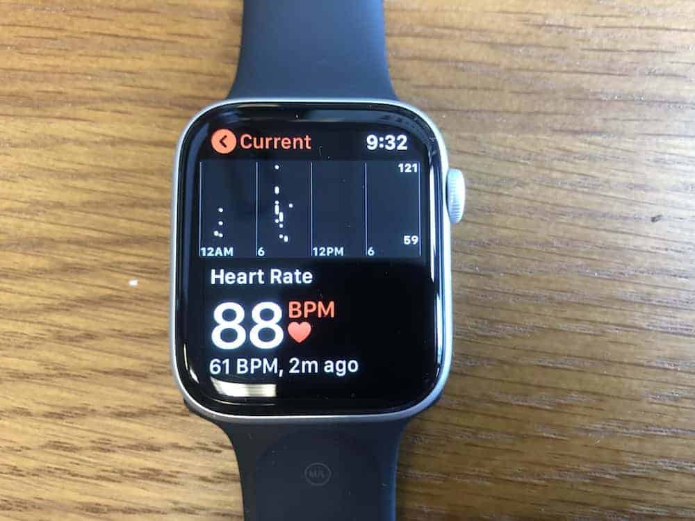 Heart rate monitor data on the Apple Watch Series 5