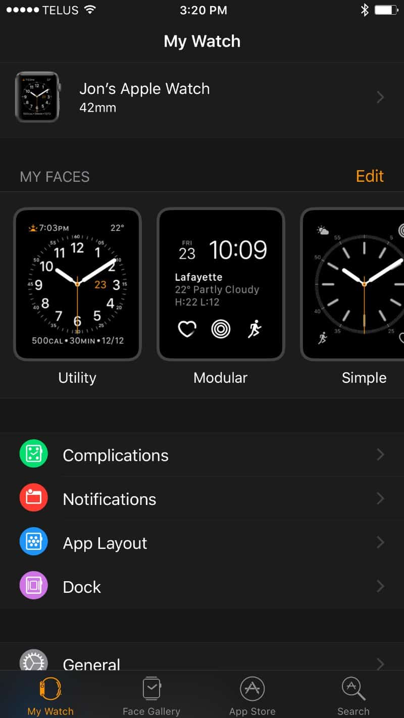 The main page of the Watch app.