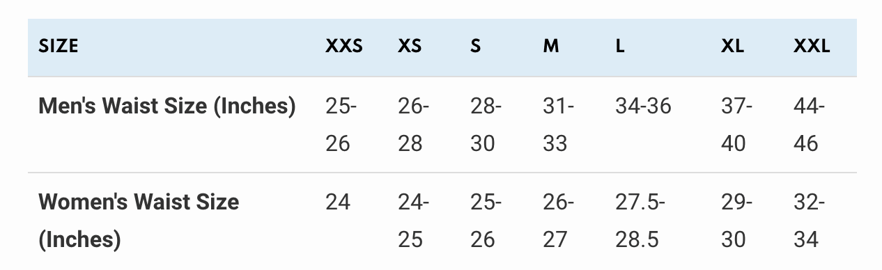 Belt sizes table
