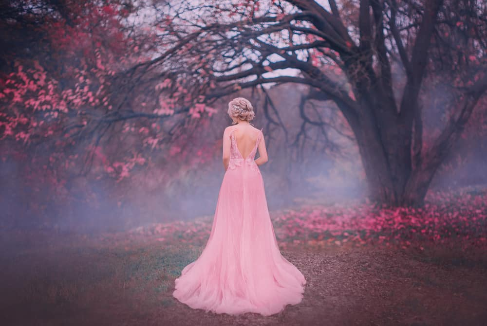 Back profile of a princess in an autumn scene with mystic blue fog.