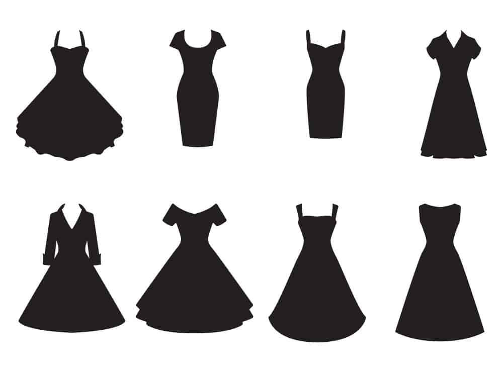 Silhouette of dresses with various necklines.