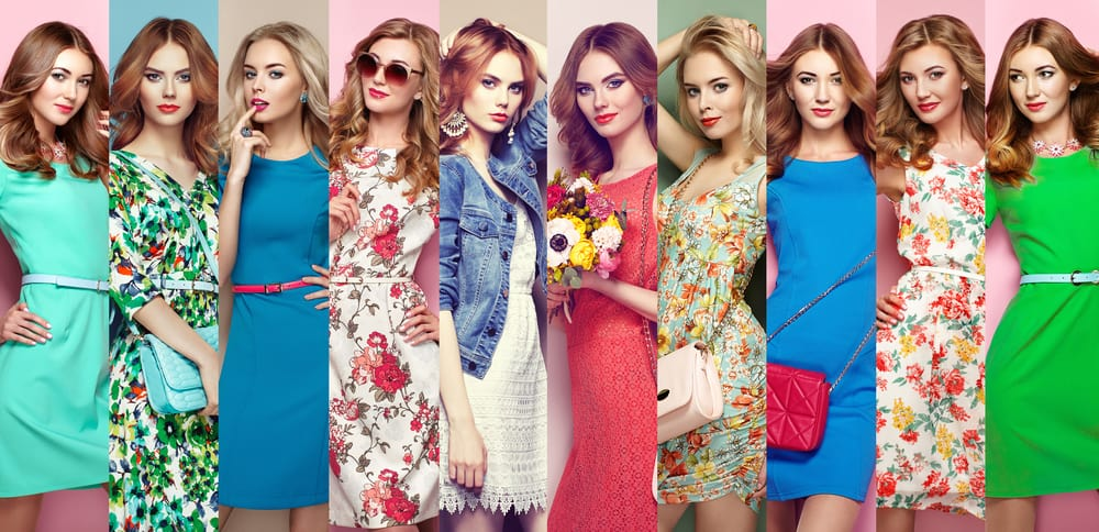A collage of women wearing various dresses.