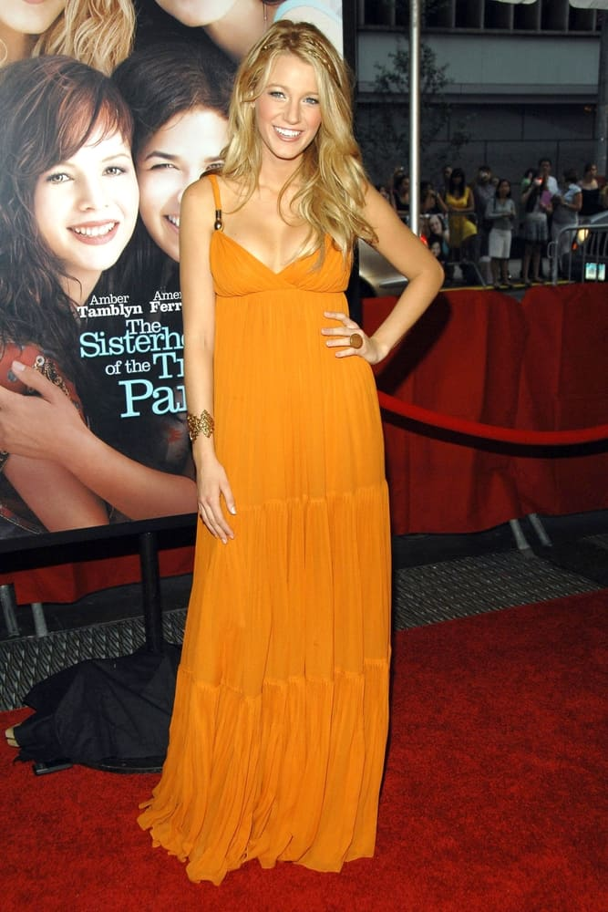 Blake Lively at Premiere of Sisterhood of the Traveling Pants 2 wearing an Empire waist dress.
