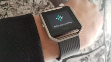 The Fitbit Blaze strapped on a wrist.