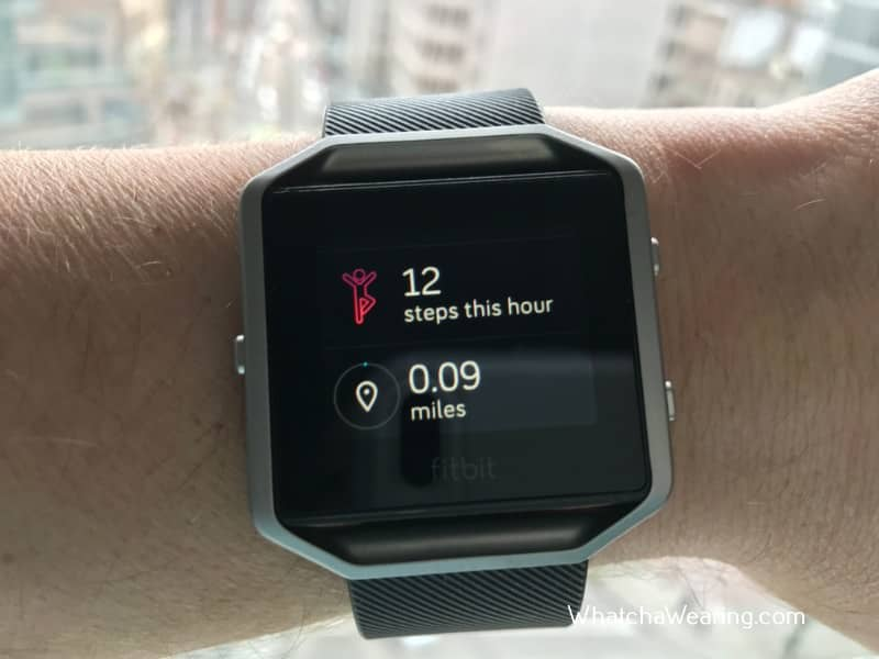 The Fitbit Blaze Basic tracking data.
