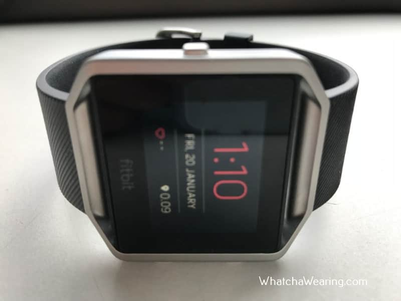 The Fitbit Blaze with charger.