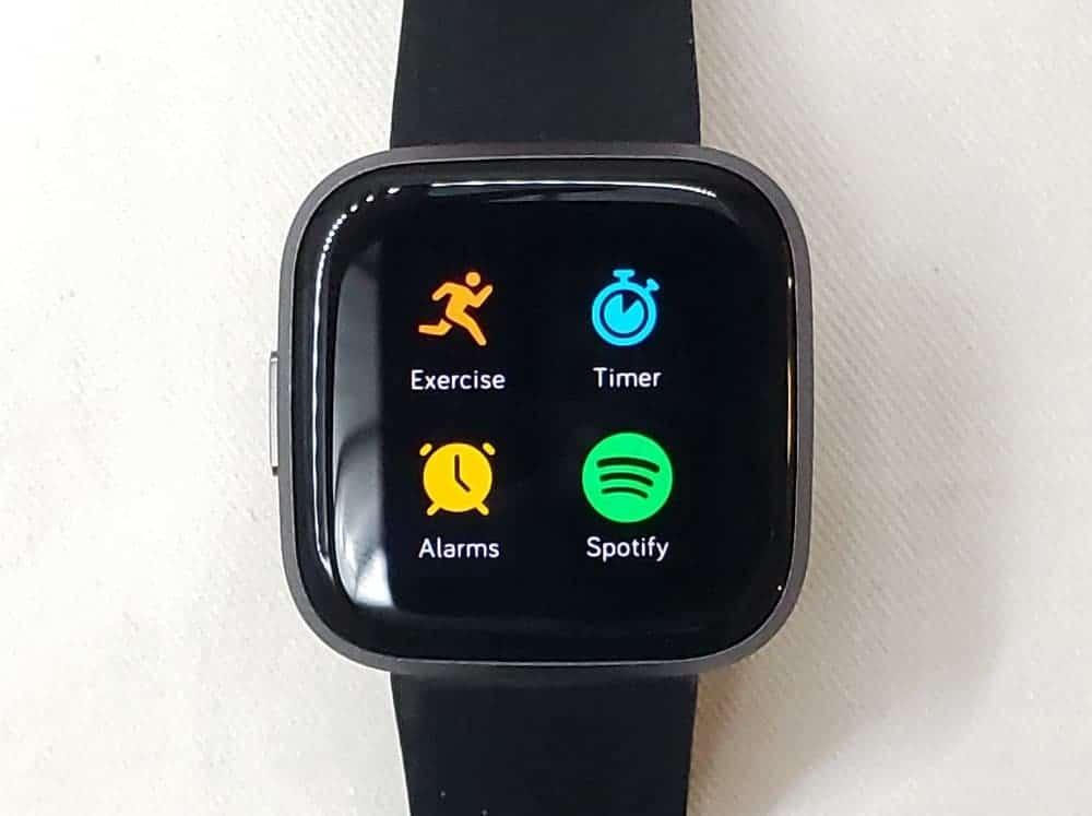 Fitbit Versa 2 app menu