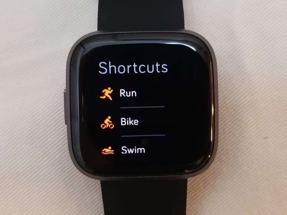 Fitbit Versa 2 exercise menu