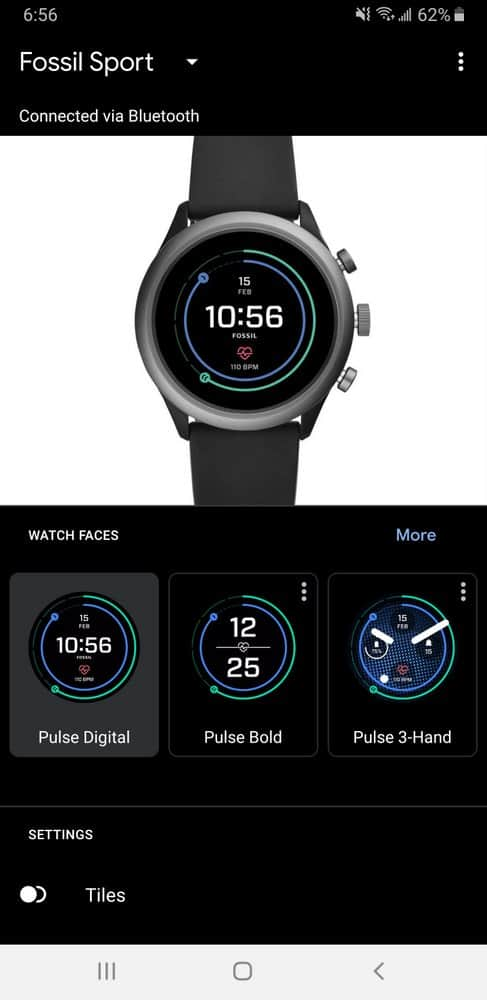 Fossil Sport Smartwatch app main screen