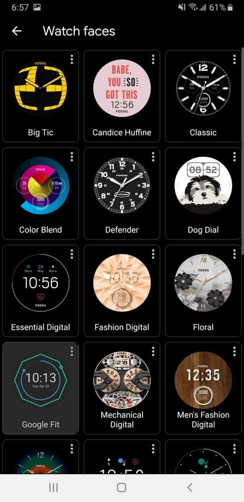 Fossil Sport Smartwatch watch faces on app