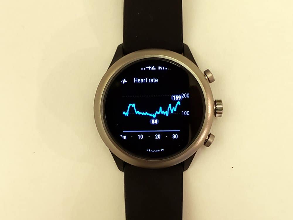 Fossil Sport Smartwatch heart rate graph