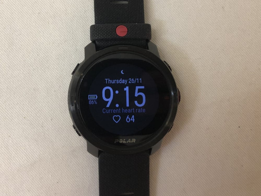 Polar Grit X heart rate watch face