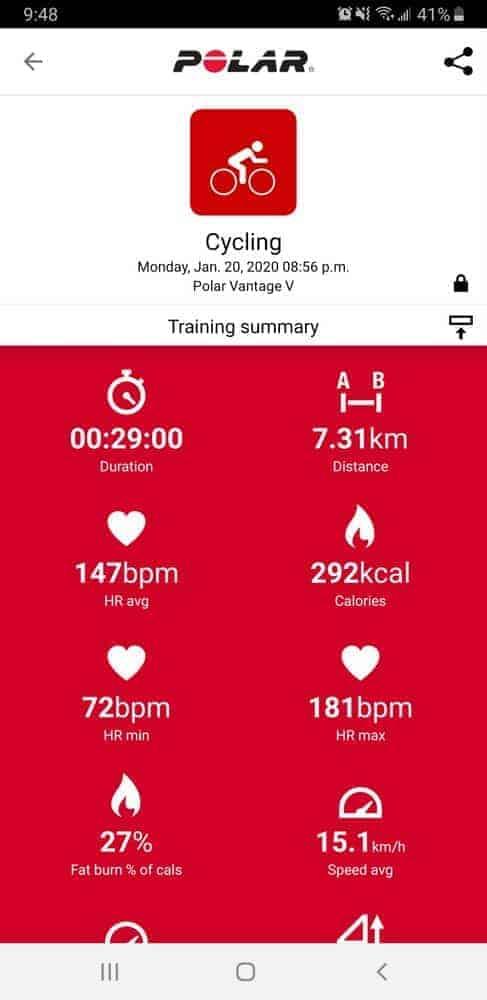Polar Vantage V Polar Flow cycling workout