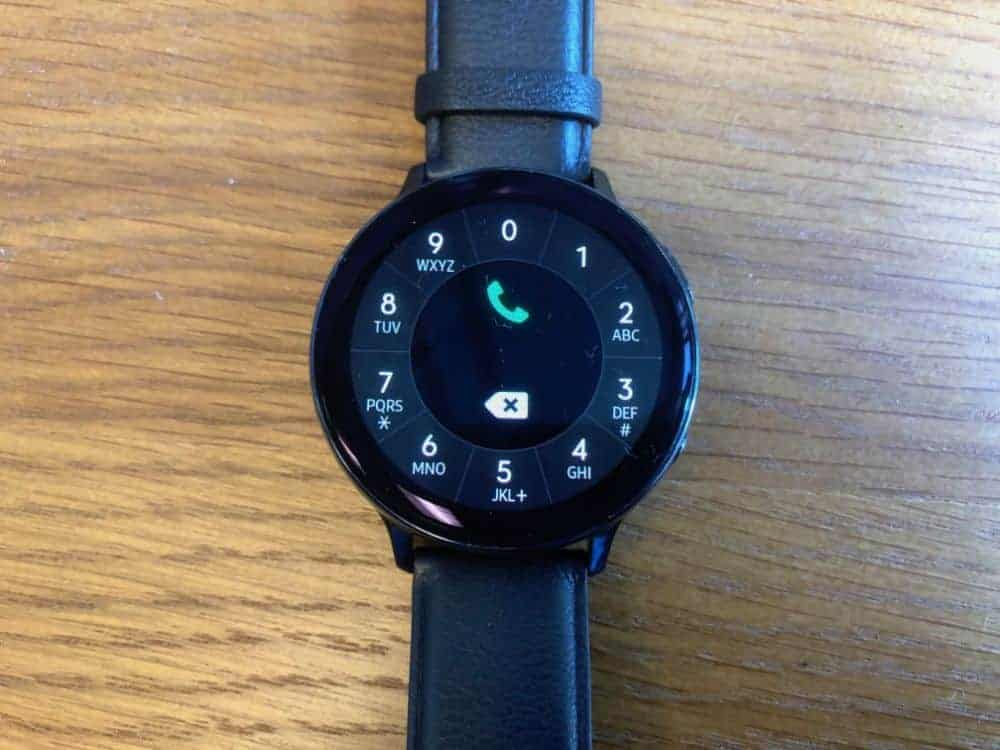 Telephone dialer on the Samsung Galaxy Active2 Smartwatch