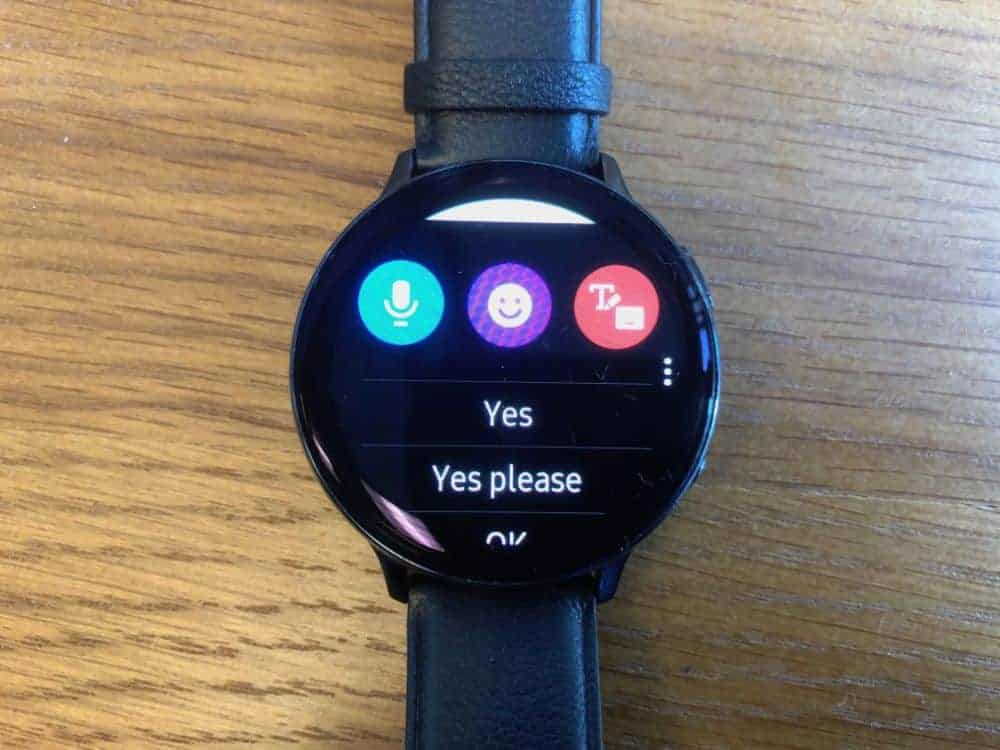 Text messaging app on Samsung Galaxy Active2 Smartwatch