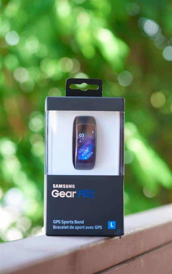 A close look at the Samsung Gear Fit 2 Smartwatch still in its box.