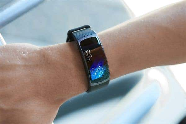 This is a close look at the Samsung Gear Fit 2 Smartwatch on the wrist.