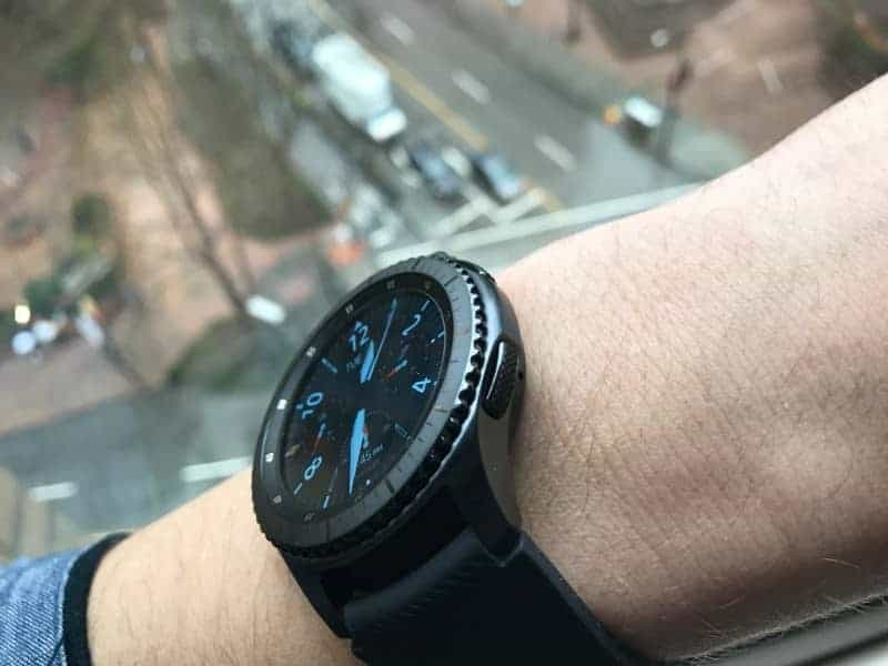 Samsung Gear S3 Frontier Smartwatch from the side.
