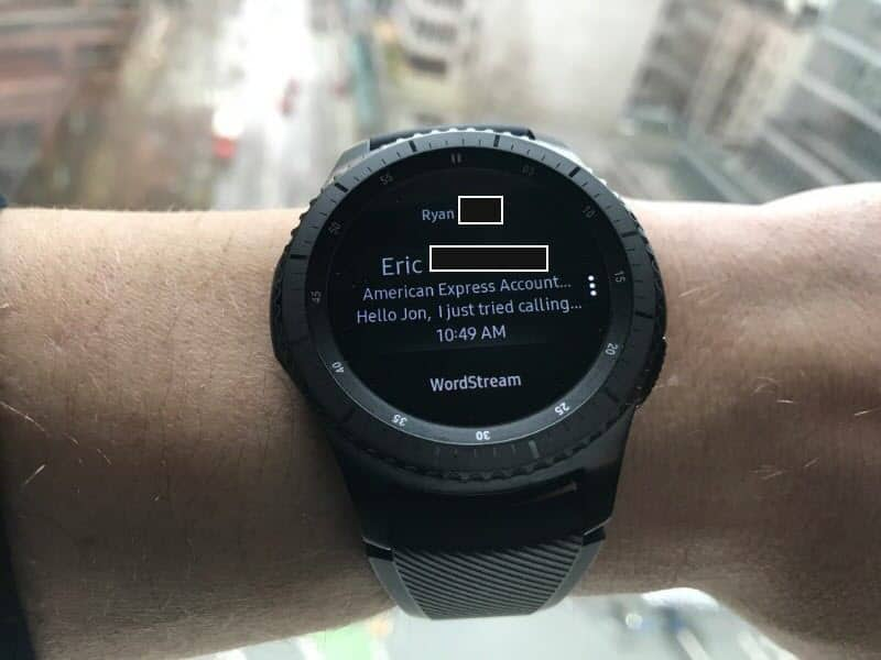 Email message on the Samsung Gear S3 Frontier Smartwatch