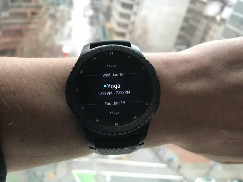 Calendar on the Samsung Gear S3 Frontier Smartwatch