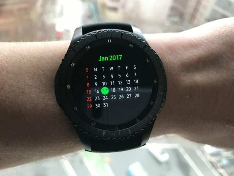 Monthly calendar view on the Samsung Gear S3 Frontier Smartwatch