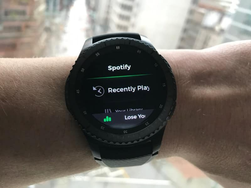 Spotify screen on the Samsung Gear S3 Frontier Smartwatch