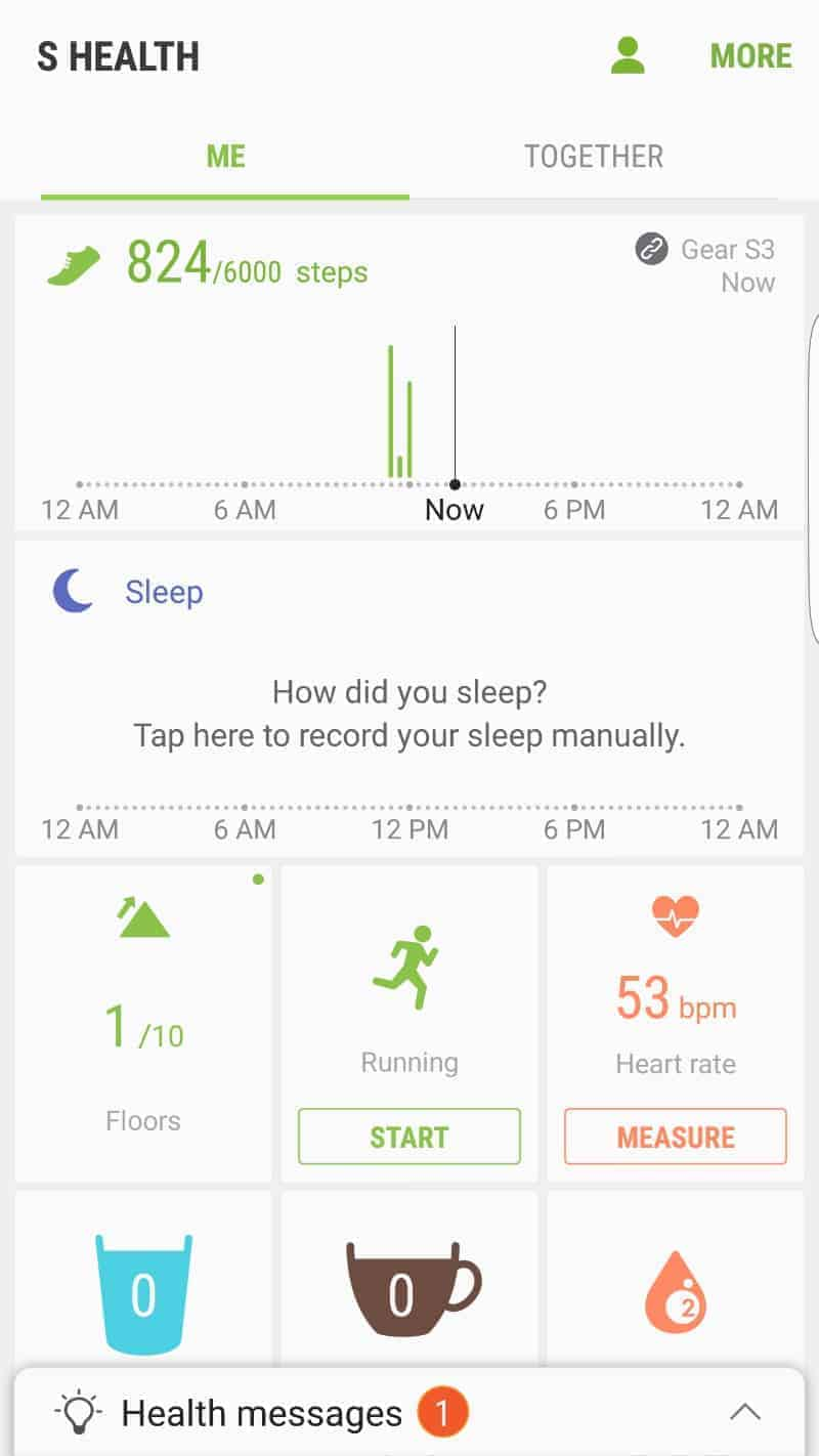 Samsung Gear S3 Health Apps.