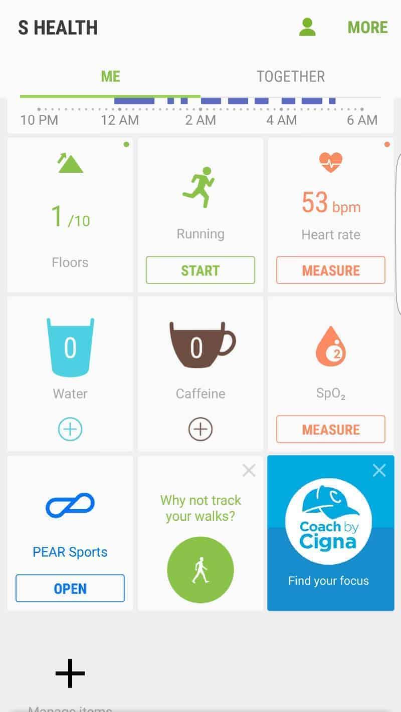 Samsung Gear S3 Health Apps.
