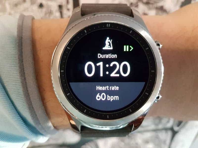 Samsung Gear S3 exercise timer and monitor.