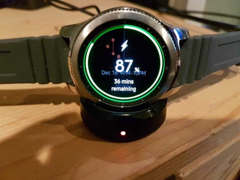 Samsung Gear S3 and its charger.