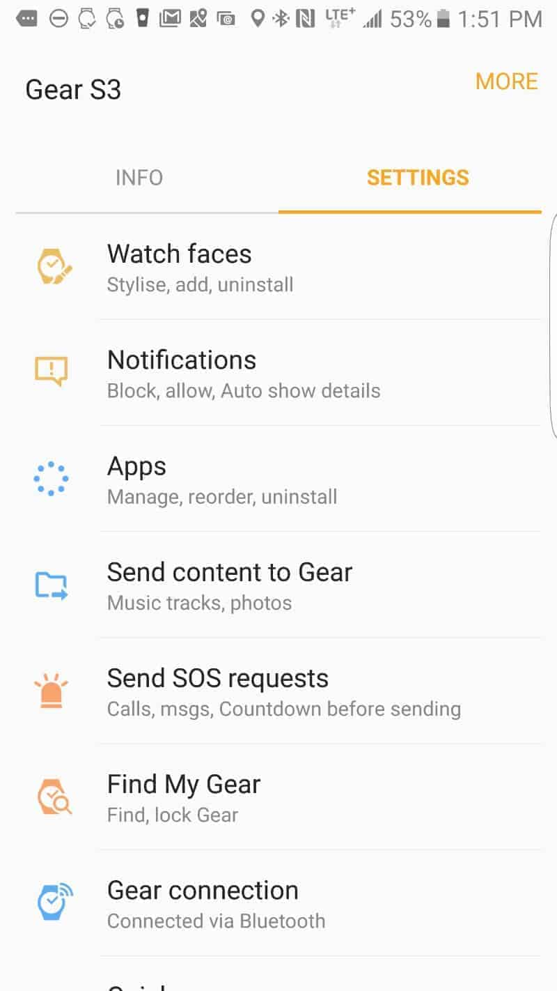 Samsung Gear S3 setting up.