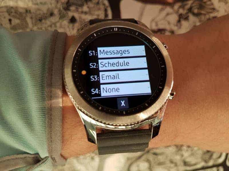 Samsung Gear S3 Smartwatch setting.