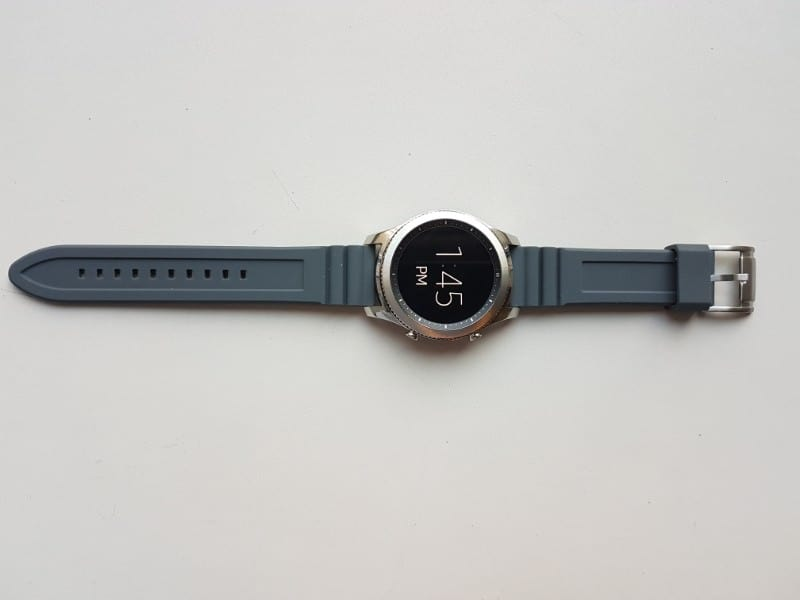 Samsung Gear S3 Smartwatch with gray straps.