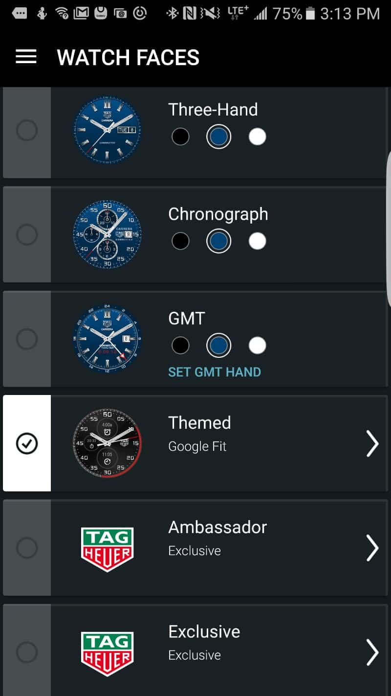 Tag Heuer Connected Smartwatch watch faces.