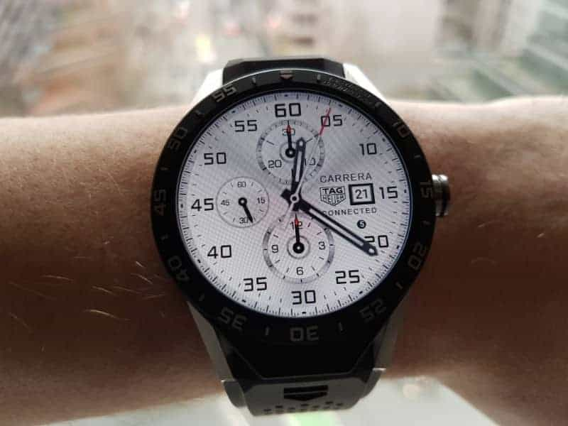 Tag Heuer Connected Smartwatch watch faces in Chronograph / White