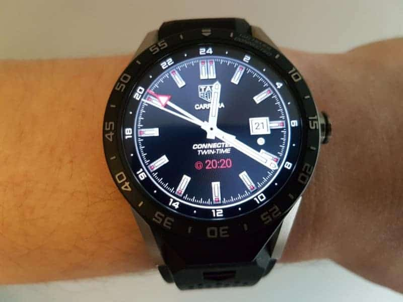 Tag Heuer Connected Smartwatch watch faces in GMT/ Black.