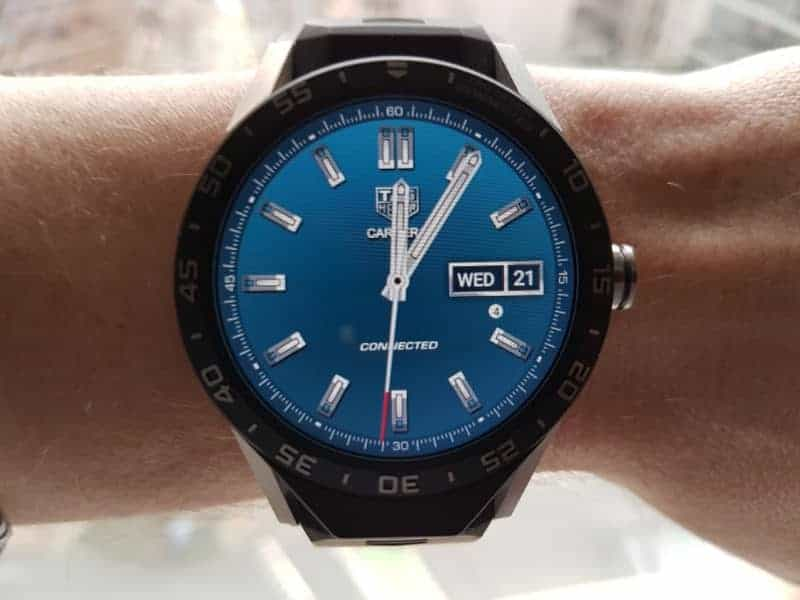 Tag Heuer Connected Smartwatch watch faces in Three-Hand / Blue.