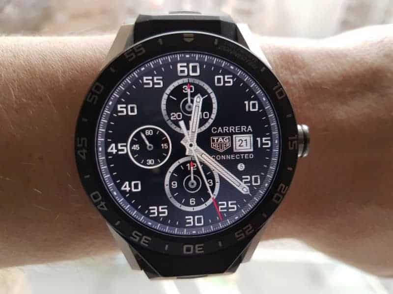 Tag Heuer Connected Smartwatch watch faces in Chronograph / Black.