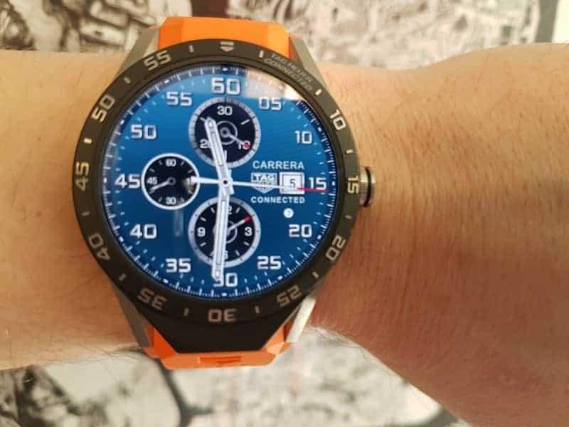 Tag Heuer Connected Smartwatch orange strap.