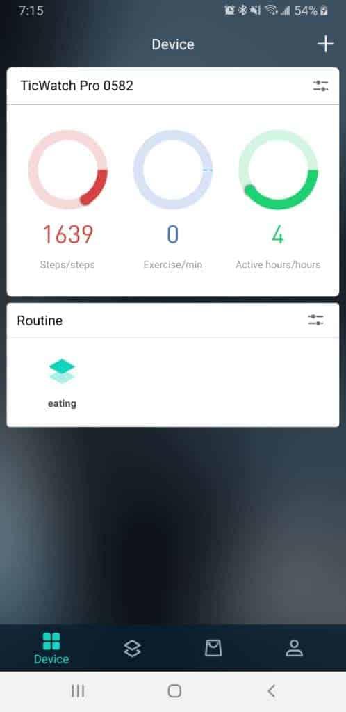 Ticwatch Pro Mobvoi app