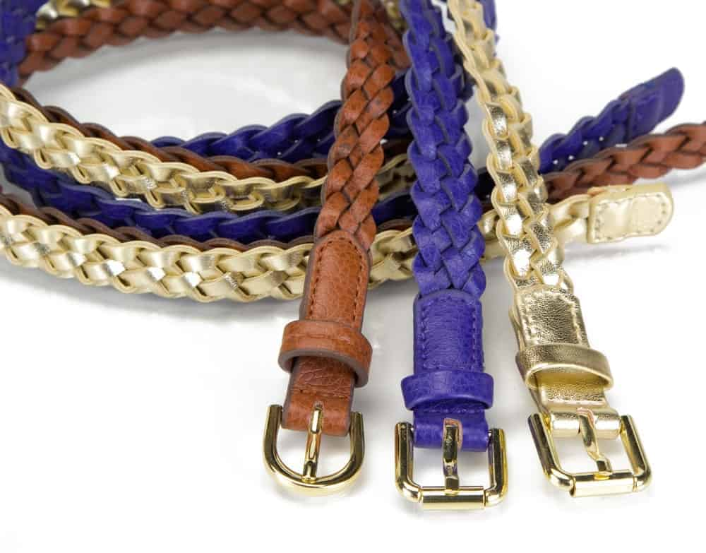 A close look at three braided belts in various tones.