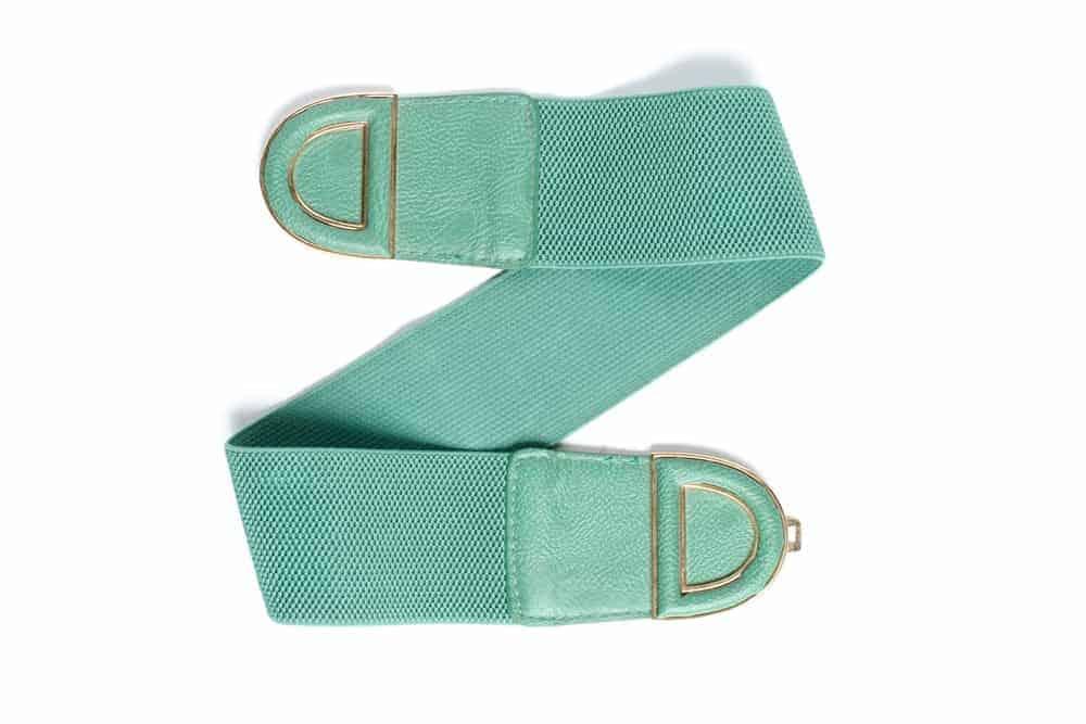 A woman's green elastic belt.