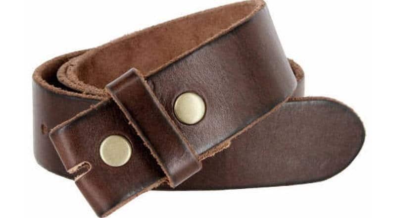 A vintage brown leather snap belt.