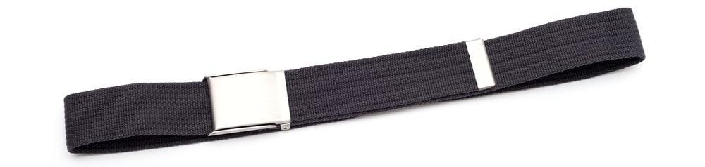 A close look at a dark gray military belt.