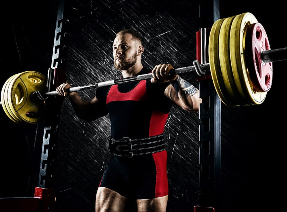 A weightlifter wearing an athletic belt.