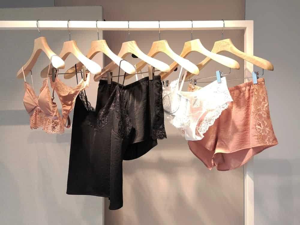 Various lingerie hanging on lingerie hangers.