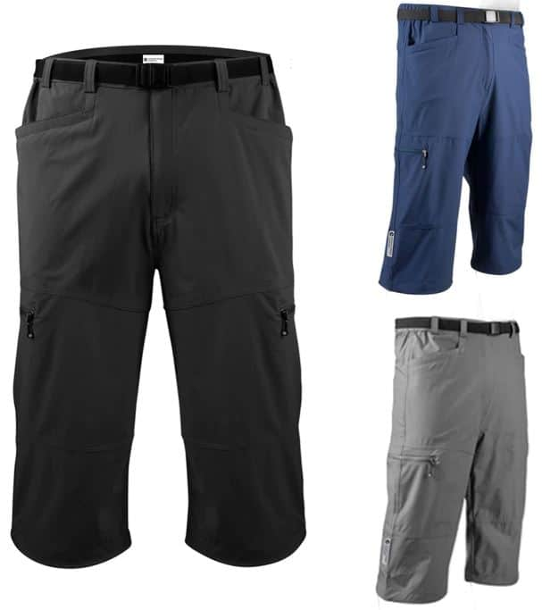 Pairs of capri pants in different colors.