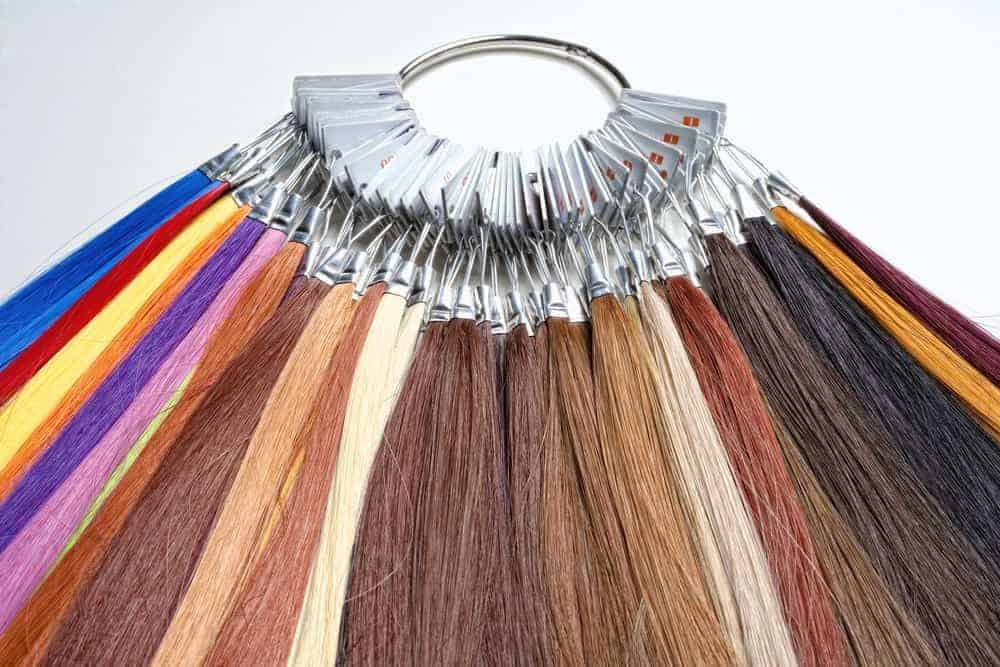 A ring of synthetic hair extensions in multicolors.